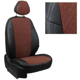 Авточехлы Алькантара ромб Черный + Шоколад для BMW 5 (E60) Sd (сплошн.) с 03-10г.
