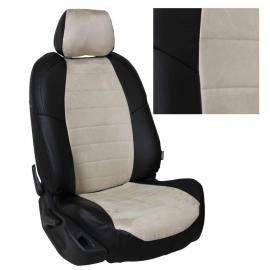 Авточехлы Алькантара Черный + Бежевый для Chevrolet Cobalt с 11г. / Ravon R4 с 16г.