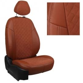 Авточехлы Алькантара ромб Коричневый + Коричневый для Chevrolet Lacetti / Daewoo Gentra / Ravon Gentra