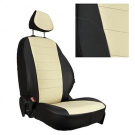 Авточехлы Экокожа Черный + Бежевый для Mitsubishi L200 V с 15г. / Fiat Fullback I c 16г.