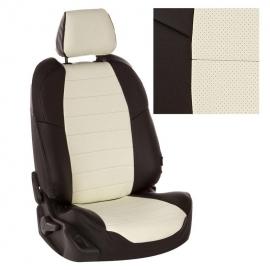 Авточехлы Экокожа Черный + Белый для Mitsubishi L200 V с 15г. / Fiat Fullback I c 16г.
