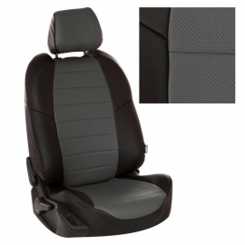 Авточехлы Экокожа Черный + Серый для Mitsubishi L200 IV (рестайлинг) с 13-15г.