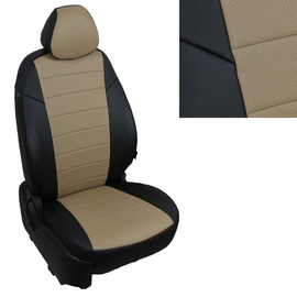 Авточехлы Экокожа Черный + Темно-бежевый  для Mitsubishi L200 V с 15г. / Fiat Fullback I c 16г.