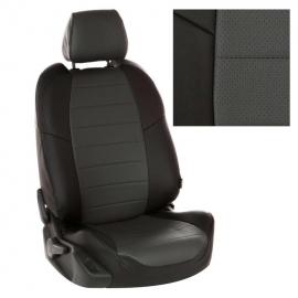 Авточехлы Экокожа Черный + Темно-серый для Mitsubishi L200 V с 15г. / Fiat Fullback I c 16г.