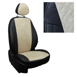 Авточехлы Алькантара ромб Черный + Бежевый для Mitsubishi Lancer 10 Sd с 07-11г. (комплектация invite)