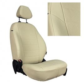 Авточехлы Экокожа Бежевый + Бежевый для Nissan Pathfinder III (пасс. спинка трансформер) с 04-14г.