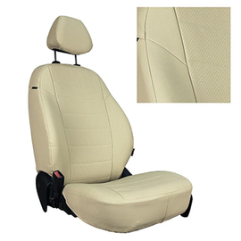 Авточехлы Экокожа Бежевый + Бежевый для Nissan Almera N16 Sd/Hb с 00-06г.