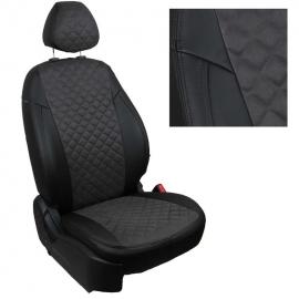 Авточехлы Алькантара ромб Черный + Темно-серый для Nissan Almera Classic (горбы) с 06-13г.