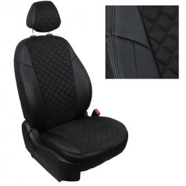 Авточехлы Алькантара ромб Черный + Черный для Nissan Almera Classic (горбы) с 06-13г.