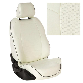Авточехлы Экокожа Белый + Белый для Nissan Almera Classic (с подголовниками) с 06-13г.