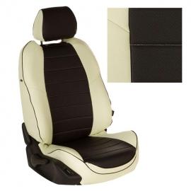 Авточехлы Экокожа Белый + Черный для Nissan Pathfinder III (пасс. спинка трансформер) с 04-14г.