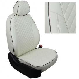 Авточехлы Ромб Белый + Белый для Nissan Primera P12 Sd/Hb/Wag с 01-08г.