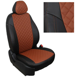 Авточехлы Ромб Черный + Коричневый для Nissan Pathfinder III (пасс. спинка трансформер) с 04-14г.