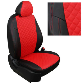 Авточехлы Ромб Черный + Красный для Nissan Pathfinder III (пасс. спинка трансформер) с 04-14г.