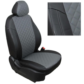 Авточехлы Ромб Черный + Серый для Nissan Almera Classic (горбы) с 06-13г.