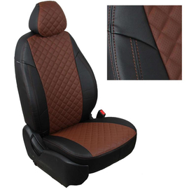 Авточехлы Ромб Черный + Темно-коричневый для Nissan Pathfinder III (пасс. спинка трансформер) с 04-14г.