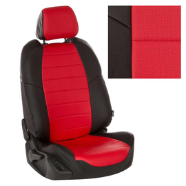 Авточехлы Экокожа Черный + Красный для Nissan Almera III (G15) сплошная с 13г.