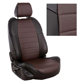 Авточехлы Экокожа Черный + Шоколад для Peugeot Partner Tepee Family / Citroen Berlingo II (3 отдельных кресла) с 08г.