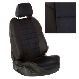 Авточехлы Алькантара Черный + Черный для Renault Logan II 40/60 / Sandero II (без подушек безопасности) c 14г.