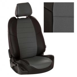 Авточехлы Экокожа Черный + Серый для Renault Scenic II (5 мест) c 03-09г. (простая комплектация)