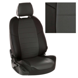 Авточехлы Экокожа Черный + Темно-серый для Renault Sandero II / Logan II (с подушками безопасности) с 14г.