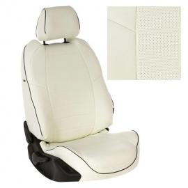 Авточехлы Экокожа Белый + Белый для Skoda Fabia II Sport (RS) Hb c 10г.