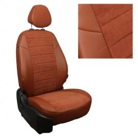 Авточехлы Алькантара Коричневый + Коричневый для Skoda Rapid (40/60) c 14г. / VW Polo с 20г. (без заднего подлокотника)