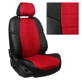 Авточехлы Алькантара Черный + Красный для Skoda Rapid (40/60) c 14г. / VW Polo с 20г. (с задним подлокотником)