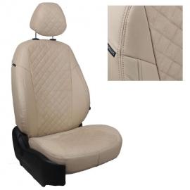 Авточехлы Алькантара ромб Бежевый + Бежевый для Skoda Rapid (40/60) c 14г. / VW Polo с 20г. (с задним подлокотником)