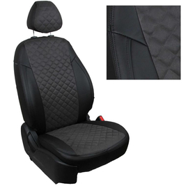 Авточехлы Алькантара ромб Черный + Темно-серый для Skoda Roomster с 06-15г.