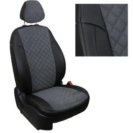 Авточехлы Алькантара ромб Черный + Серый для Skoda Roomster с 06-15г.