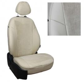 Авточехлы Алькантара Бежевый + Бежевый для Skoda Rapid (40/60) c 14г. / VW Polo с 20г. (без заднего подлокотника)