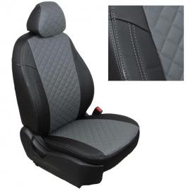 Авточехлы Ромб Черный + Серый для Skoda Roomster с 06-15г.