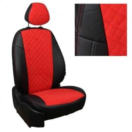 Авточехлы Алькантара ромб Черный + Красный для Skoda Yeti (передние спинки одинаковые) с 09г.