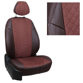Авточехлы Алькантара ромб Шоколад + Шоколад для Toyota Corolla Sd c 18г. (с задним подлокотником) комплектация Comfort / Prestige