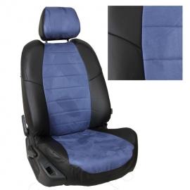Авточехлы Алькантара Черный + Синий для Volkswagen Golf Plus с 04-14г. / Tiguan I с 07-16г. (без столиков).