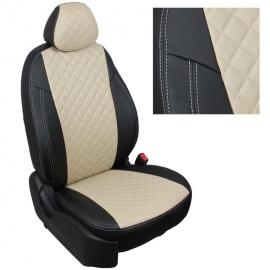 Авточехлы Ромб Черный + Бежевый для Volkswagen Amarok с 10г.
