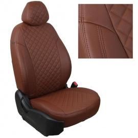 Авточехлы Ромб Темно-коричневый + Темно-коричневый для Volkswagen T-5 (2 места) до рестайлинга с 03-09г.