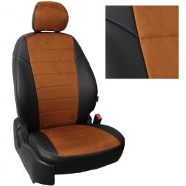 Авточехлы Алькантара Черный + Коричневый для Hyundai Getz GL с 02-11г. (задн. сид. сплошное)