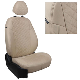 Авточехлы Алькантара ромб Бежевый + Бежевый для Hyundai i40 Sd/Wag с 11г.
