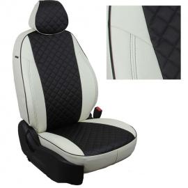 Авточехлы Ромб Белый + Черный для Hyundai Getz GL с 02-11г. (задн. сид. сплошное)