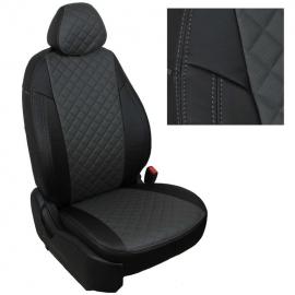 Авточехлы Ромб Черный + Темно-серый для Hyundai Getz GLS с 02-11г. (задн. сид. 40/60)