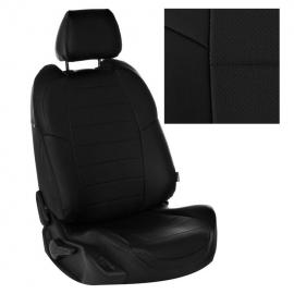 Авточехлы Экокожа Черный + Черный для Hyundai Getz GL с 02-11г. (задн. сид. сплошное)