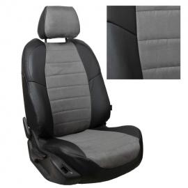 Авточехлы Алькантара Черный + Серый для Hyundai Sonata (YF) с 09-14г.