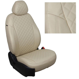 Авточехлы Ромб Бежевый + Бежевый для Hyundai Solaris I Hb / KIA Rio III Hb с 10-17г.