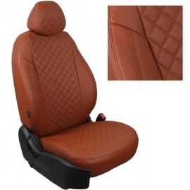 Авточехлы Ромб Коричневый + Коричневый для Hyundai Solaris I Hb / KIA Rio III Hb с 10-17г.