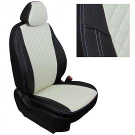 Авточехлы Ромб Черный + Белый для Hyundai Solaris I Hb / KIA Rio III Hb с 10-17г.