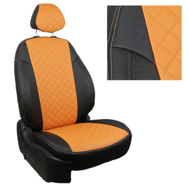 Авточехлы Ромб Черный + Оранжевый для Hyundai Solaris I Sd / KIA Rio III Sd (40/60) с 10-17г.