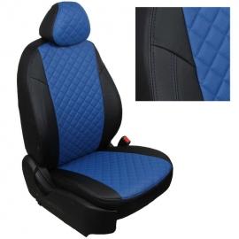 Авточехлы Ромб Черный + Синий для Hyundai Solaris I Sd / KIA Rio III Sd (40/60) с 10-17г.