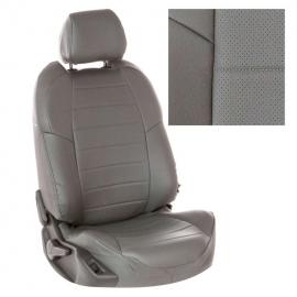 Авточехлы Экокожа Серый + Серый для Hyundai Solaris I Hb / KIA Rio III Hb с 10-17г.